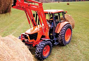 New equipment for sale - kubota tractor stacking bales